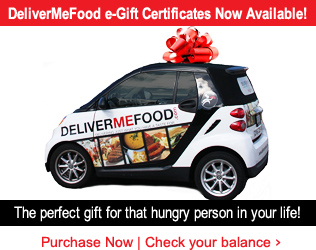 Food Delivery Gift Certificates Now Avialable from DeliverMeFood.com